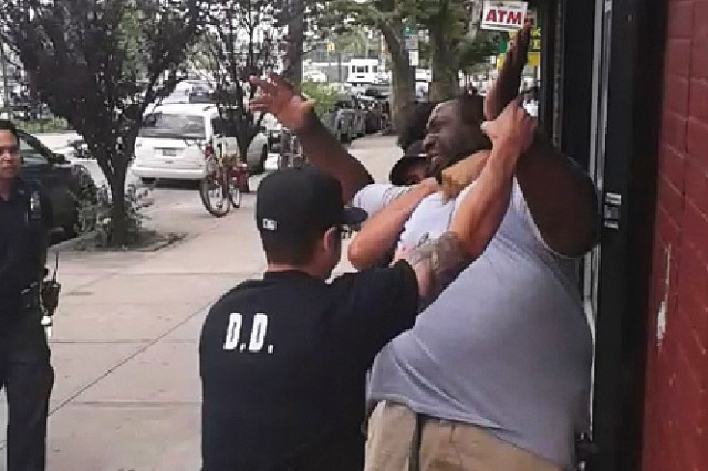 Video grabs taken from the video clips of Eric Garner being choked by NYPD officers.