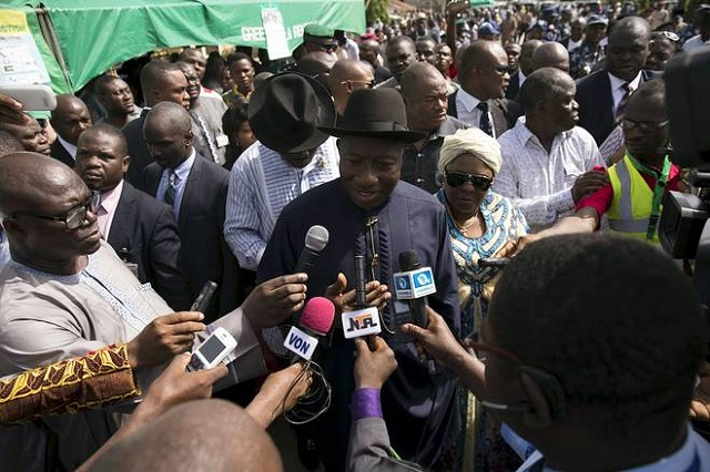 Nigerian President Goodluck Jonathan addresses the media in Otuoke, Bayelsa State on Saturday. Afolabi Sotunde/Reuters