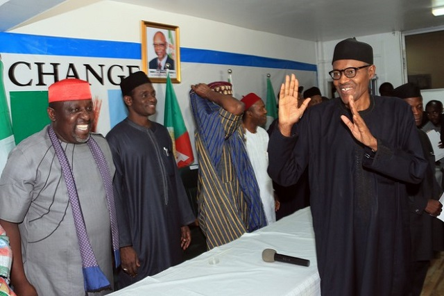Nigerian president-elect Muhammadu Buhari, right, in Abuja, Nigeria, on Wednesday. Mr. Buhari hailed polls that will lead to the first democratic change of power in Africa's most populous nation.
