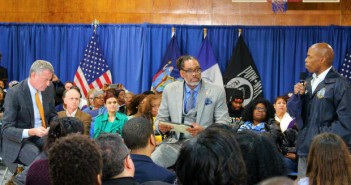 Brooklyn Borough President Eric Adams (right) said at a Bedford-Stuyvesant town hall meeting Thursday that he did not agree with the mayor's plan that would bring 90 new homeless shelters throughout the city.